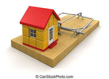 Mousetrap and house Image with clipping path