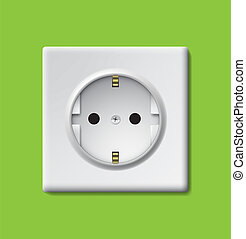 Outlet - Electrical outlet on a green wall EPS10 vector...