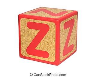 Letter Z on Childrens Alphabet Block - Letter Z on Red...
