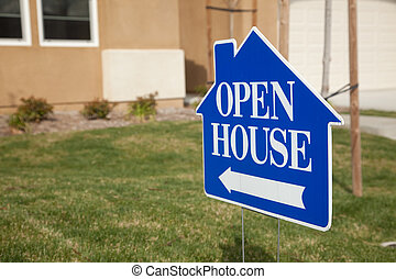 Blue Open House Sign - Blue Open House Real Estate Sign in...
