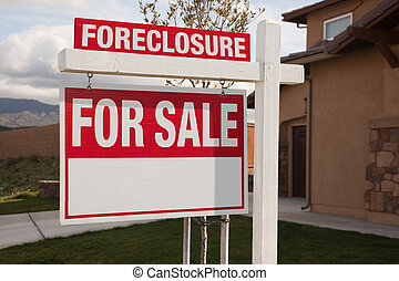 Foreclosure For Sale Real Estate Sign in Front of House...