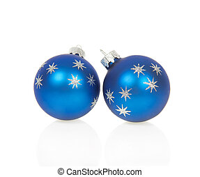 Christmas blue balls isolated on white - Bright christmas...
