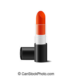 Red lipstick, close up isolated, vector illustration