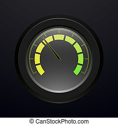 Digital tachometer, with neon light, vector illustration