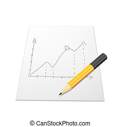 White paper with graph and pencil