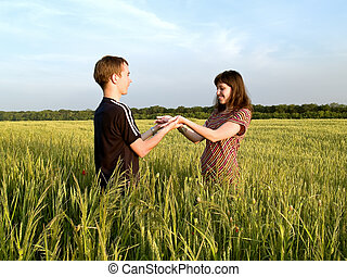Young Couple in Field