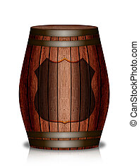 Wooden barrel, with a clean label Basis