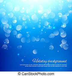 Blue abstract background with bokeh. Vector illustration for...