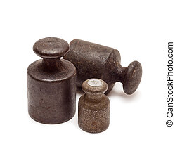 Three black weights - Set of three black antique calibration...
