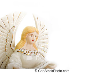 Ceramic Angel - studio shot of ceramic angel isolated on...