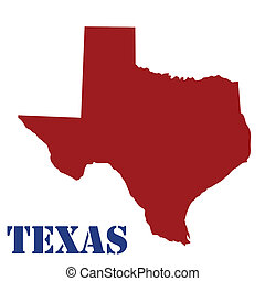 Map of Texas on white background, vector illustration