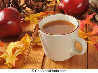 Hot apple cider - A cup of hot apple cider with cinnamon...