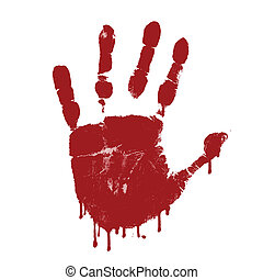 Bloody hand print on white background, vector illustration