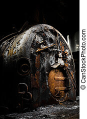 rusty industrial coal-fired boiler - Old rusty industrial...