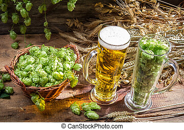 Hops and grains as ingredients for beer