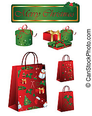 Christmas shopping bags and gift boxes