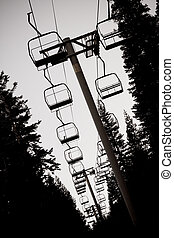 Ski lift chairs - Silhouette of idle ski lift