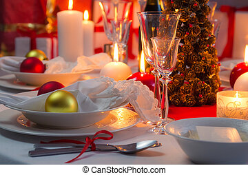 Beautifully setinng table for Christmas Eve