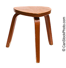 Wooden stool - Old wooden stool isolated on white background