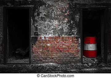 doors in a desolate industrial building - old doors in a...