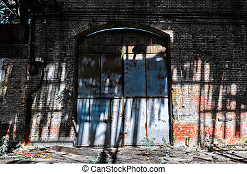 iron gate in an industrial building