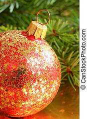 Christmas bauble - Red Christmas glass bauble with golden...