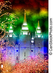 Temple and Christmas Lights