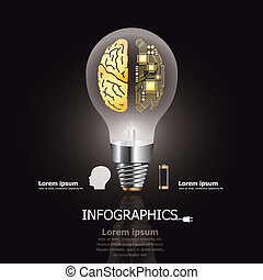 Light Bulb Brain and Electric Circuit Design Template -...