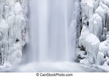 Multnomah Falls Frozen in Winter Closeup - Multnomah Falls...