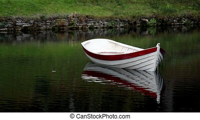 White row boat with red linings floating in the middle of...