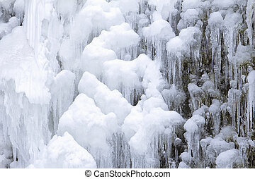 Frozen Waterfall Icicles Closeup - Frozen Waterfall Icicles...