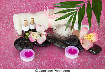 Howea leaf over flower and set for relaxation - Howea leaf...