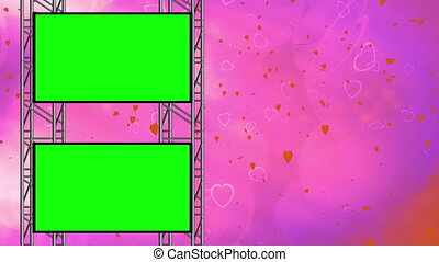 Hearts Love Green Screen Loop - Hearts Love Background Loop...
