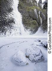 Horsetail falls Frozen in Winter Vertical - Horsetail Falls...