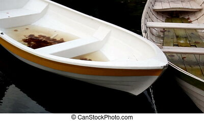 White row boat with orange linings has water inside it and...