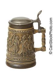 German beer jug - A traditional German beer jug with silver...