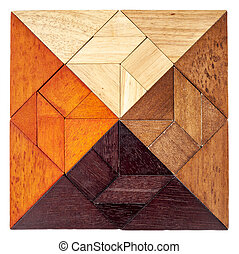 wood tangram square - square shape created from 4 sets of...