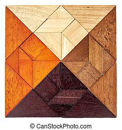 madeira, tangram, quadrado