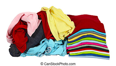Clothes - Stack of folded T shirt and pile of clothing