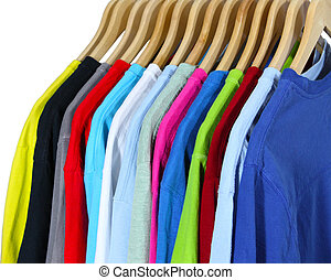 T Shirts  - Colorful T shirts on hangers isolated on white