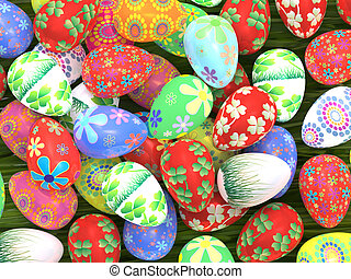 Easter eggs close up - Many colorful Easter eggs on green...