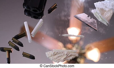 Man doing cocaine time lapse with gun and bullets in the...