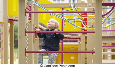 Cute little boy climbing on a jungle gym - Cute little boy...