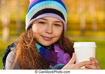School girl with coffee - Close portrait of nice smiling 11...