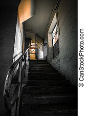 staircase interior - staircase in a old factory