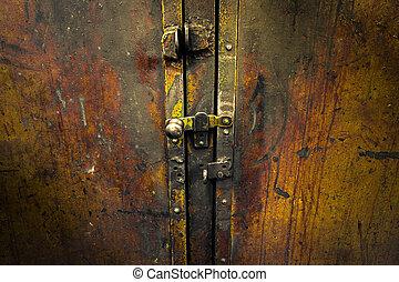 iron cupboard door - worn iron cupboard door