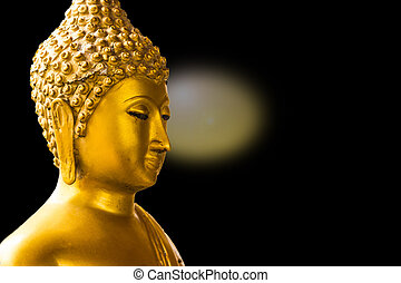 Gold Buddha isolated  on black background