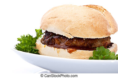 Burger on a roll isolated on white background decorated with...