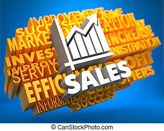 Sales Growth Wordcloud Concept - Sales with Growth Chart...