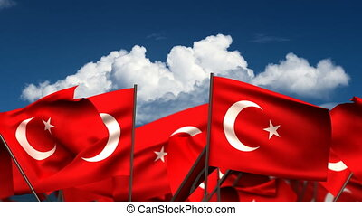 Waving Turkish Flags seamless alpha channel